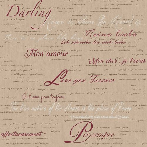 Vinyl Wallpaper lettering love brown red cream 007848 online kaufen