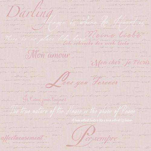 Vinyltapete Schrift Haus Liebe rosa goldbraun weiß 007851 online kaufen