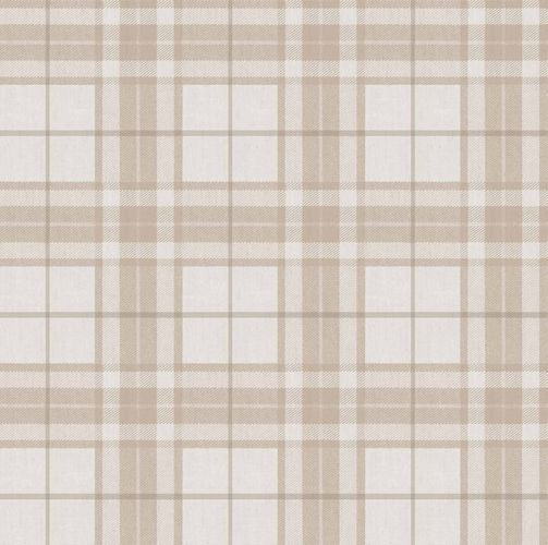 Vinyl Wallpaper tartan pattern cream beige grey 007860