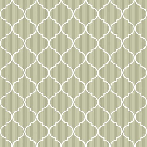 Vinyl Wallpaper grid ornaments stripes green white 007878