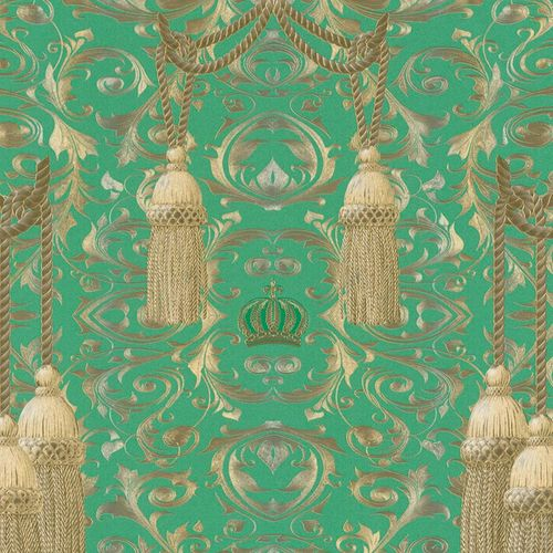 Non-Woven Wallpaper Baroque green gold Gloss La Vida 52706