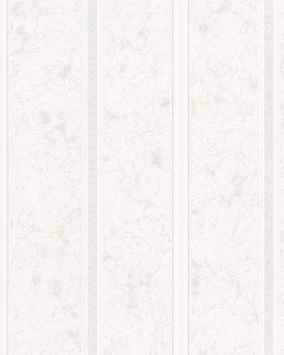 Non-Woven Wallpaper Stripes Marbeled white grey Gloss 71875
