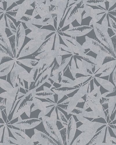 Non-woven wallpaper leaves abstract anthracite 6758-10