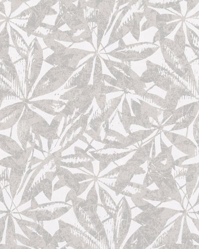 Non-woven wallpaper leaves abstract white taupe 6758-20 online kaufen