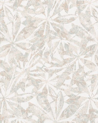 Non-woven wallpaper leaves abstract white beige 6758-40
