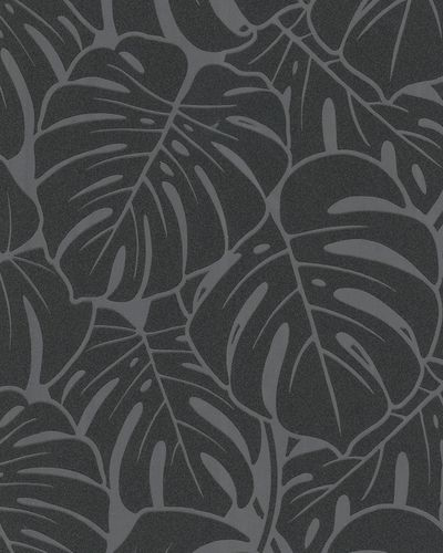 Non-woven wallpaper big leaves gloss silver 6761-10