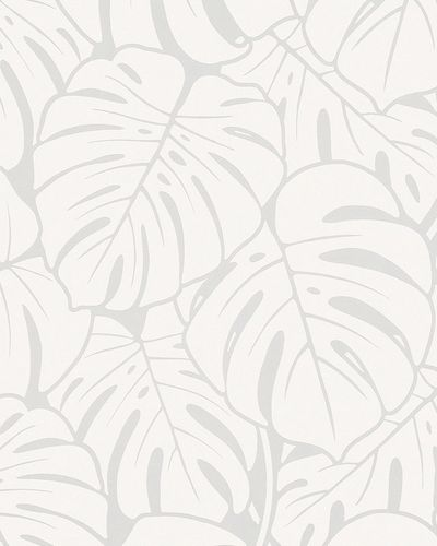 Non-woven wallpaper big leaves gloss silver 6761-30 online kaufen