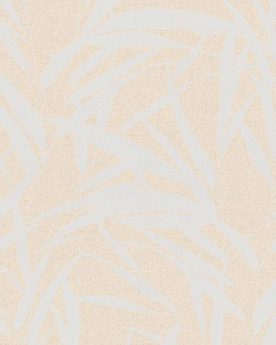Non-woven wallpaper leaves glitter gloss beige 6753-30