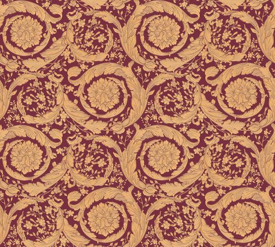 Wallpaper Versace Home Wreath Ornament red brown 366927