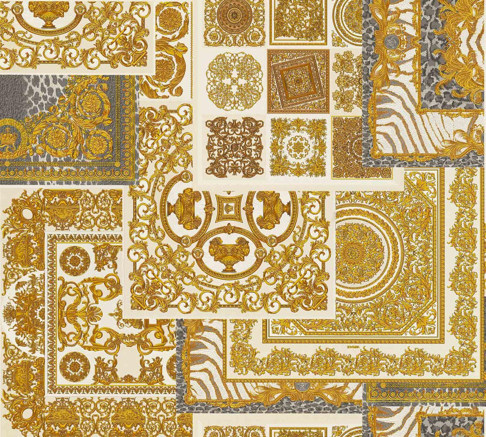 tapete versace home kacheln wei gold metallic 370484. Black Bedroom Furniture Sets. Home Design Ideas