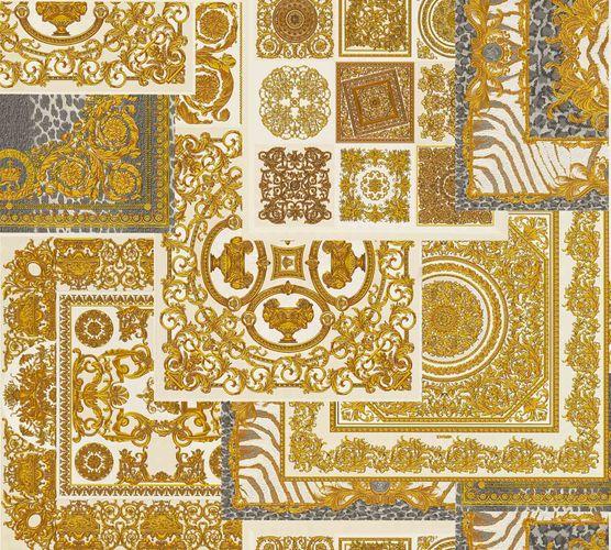 Tapete Versace Home Kacheln weiß gold Metallic 370484