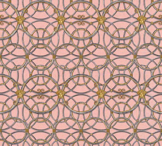 Wallpaper Versace Home Circles pink silver Metallic 370496