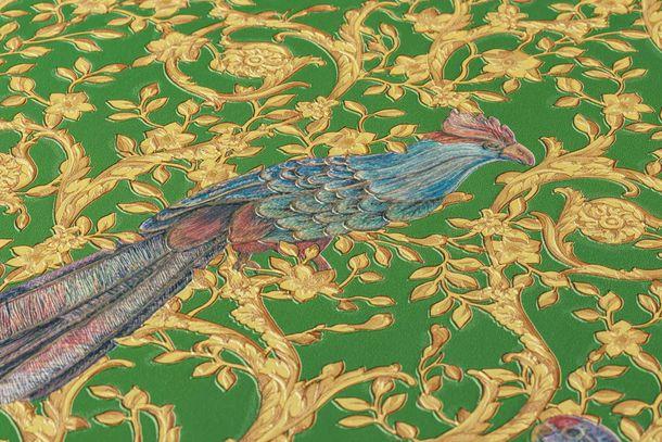 Wallpaper Versace Home Ornament Birds green Metallic 370533 online kaufen