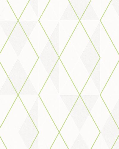 Non-Woven Wallpaper Triangle cream green Gloss 6737-40