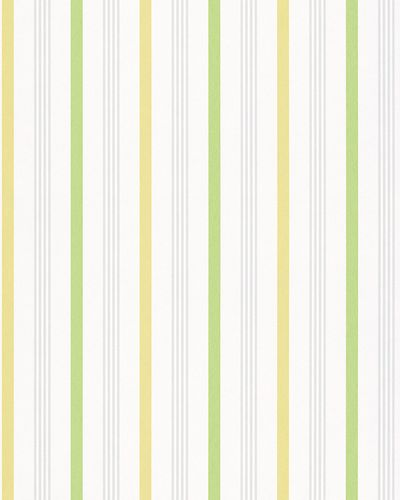 Vliestapete Streifen weiß grün gelb Glanz Novamur 6738-10