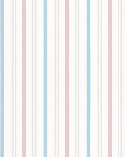 Non-Woven Wallpaper Stripes white pink blue Gloss 6738-20