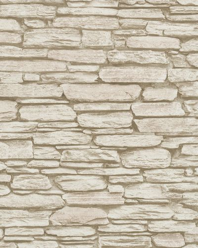 Non-Woven Wallpaper 3D Stone Wall pale cream 6721-30 online kaufen