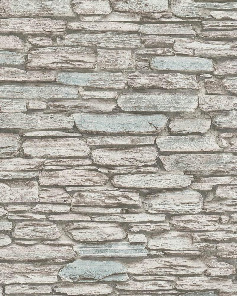 Non Woven Wallpaper 3d Stone Wall Grey Cream 6721 40