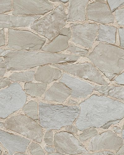 Non-Woven Wallpaper 3D Stone grey pale cream 6722-10