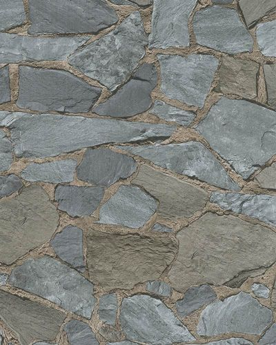 Non-woven Wallpaper Stone Pattern grey blue brown 81907 online kaufen
