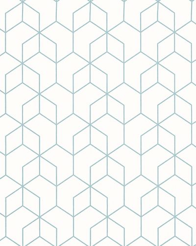 Non-Woven Wallpaper Hexagon white blue Gloss 6743-30 online kaufen