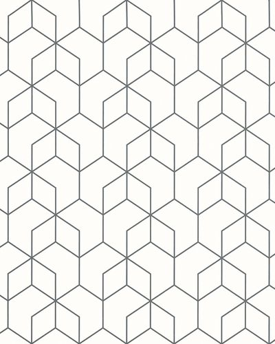 Non-Woven Wallpaper Hexagon white black Gloss 6743-40 online kaufen