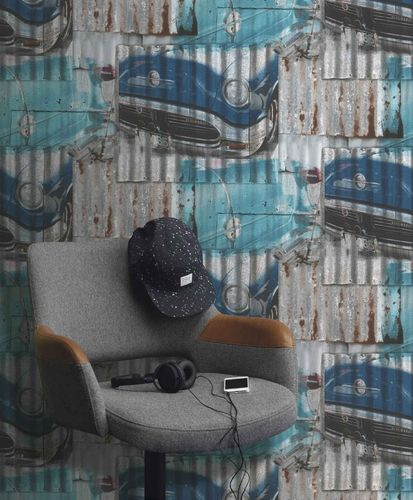 Teen's Wallpaper Iron Oldtimer grey turquoise Rasch 212402