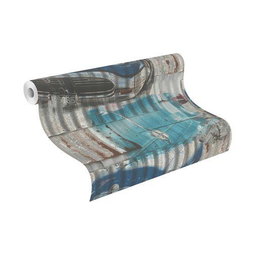 Teen's Wallpaper Iron Oldtimer grey turquoise Rasch 212402 online kaufen