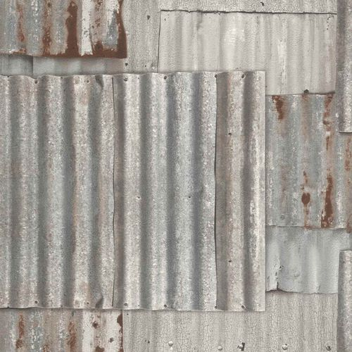 Teen's Wallpaper Iron Sheet Rust grey red Rasch 212600