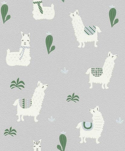 Non-Woven Wallpaper Kids Llama grey white Rasch 813241