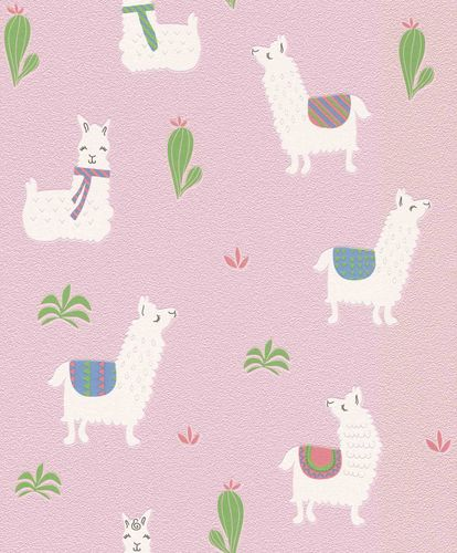 Non-Woven Wallpaper Kids Llama pink white Rasch 813258