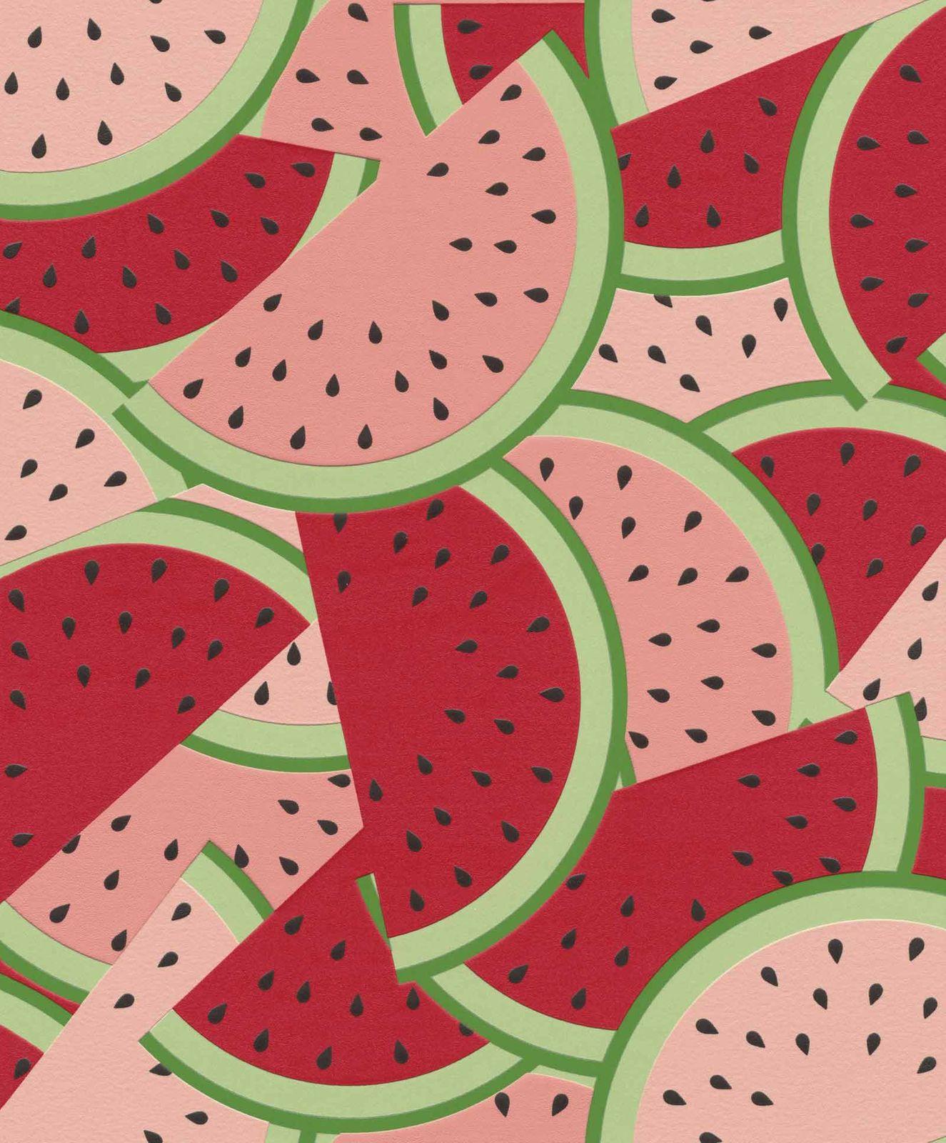 Non Woven Wallpaper Watermelon Red Green Rasch 813814