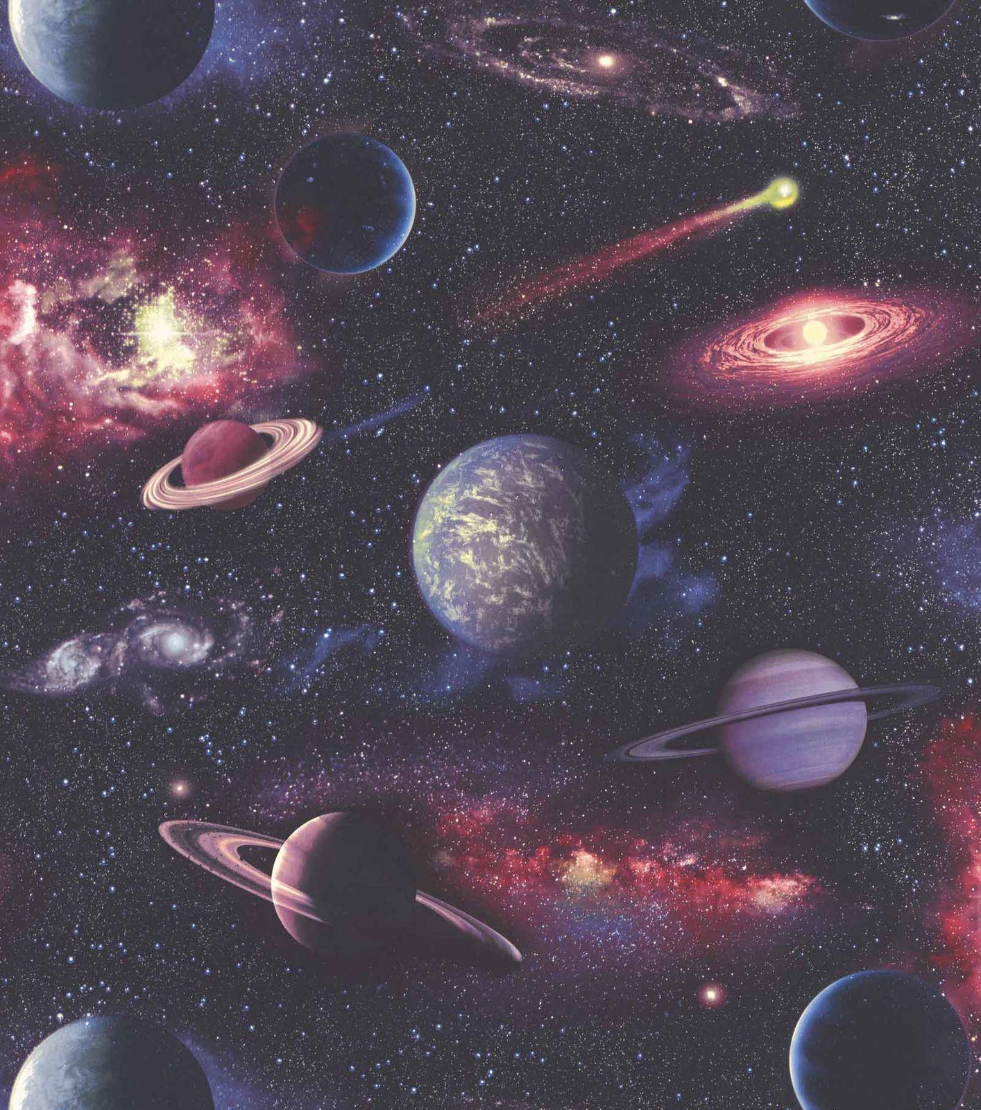 Vliestapete Kinder Kosmos Weltraum rot blau Rasch 815429