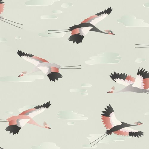 Kid's Wallpaper Crane Bird Clouds grey red Rasch 818116