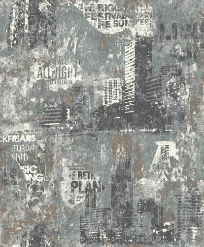 Non-Woven Wallpaper Urban City green grey Rasch 821215