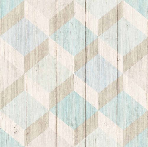 Vinyl Wallpaper Wood Graphic 3D blue GranDeco IW2002 online kaufen