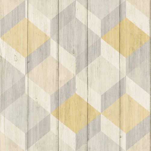 Vinyl Wallpaper Wood Graphic 3D yellow GranDeco IW2003 online kaufen