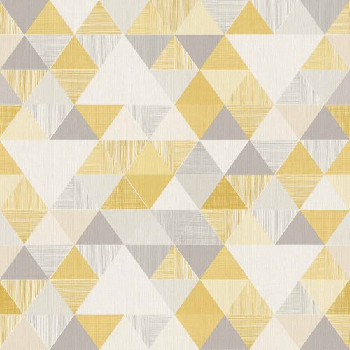 Vinyl Wallpaper Triangles Retro yellow Gloss IW3001 online kaufen