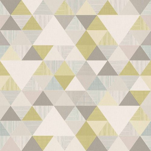 Vinyl Wallpaper Triangles Retro green Gloss IW3003 online kaufen