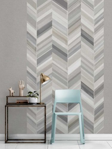 Digital Print Vinyl Wallpaper Herringbone grey IW2302