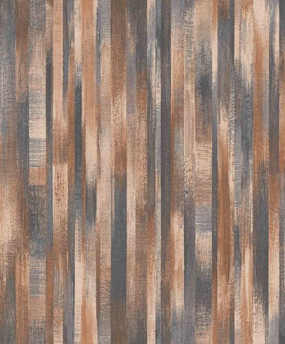 Vinyl Wallpaper Wood Vintage brown blue Metallic PP3204 online kaufen