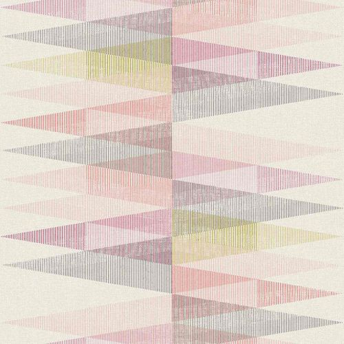 Vinyl Wallpaper Triangles Textile pink green PP3301