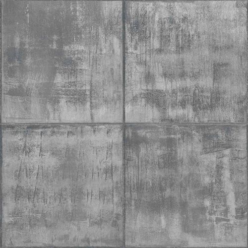 Vinyl Wallpaper Patina Tiles dark grey Metallic PP3402 online kaufen