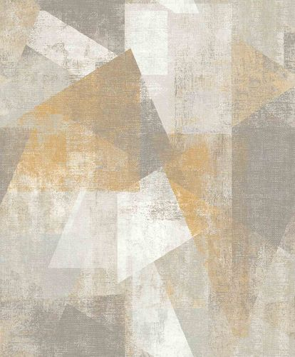 Vinyl Wallpaper Geometric Textile grey yellow PP3602