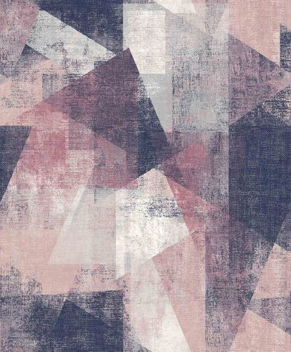 Vinyl Wallpaper Geometric Textile pink white PP3603