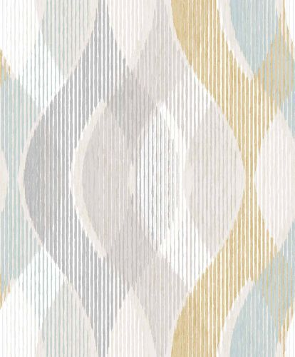 Vinyl Wallpaper Stripes Waves grey yellow PP3701