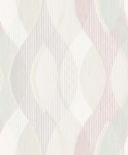 Vinyl Wallpaper Stripes Waves white pink GranDeco PP3702 online kaufen