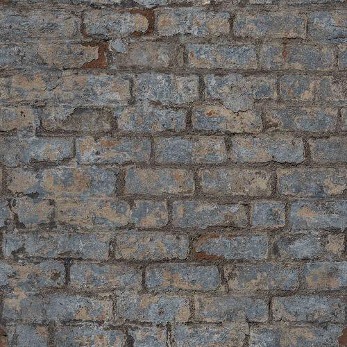 Vinyl Wallpaper Stone Wall Vintage blue grey PP3801 online kaufen