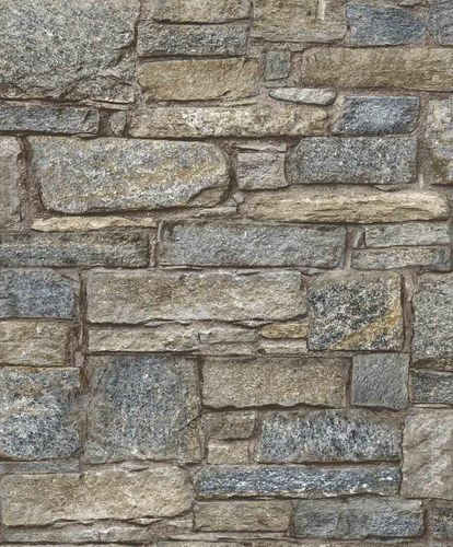 Non-Woven Wallpaper Wall Stone grey blue brown PP3903 online kaufen