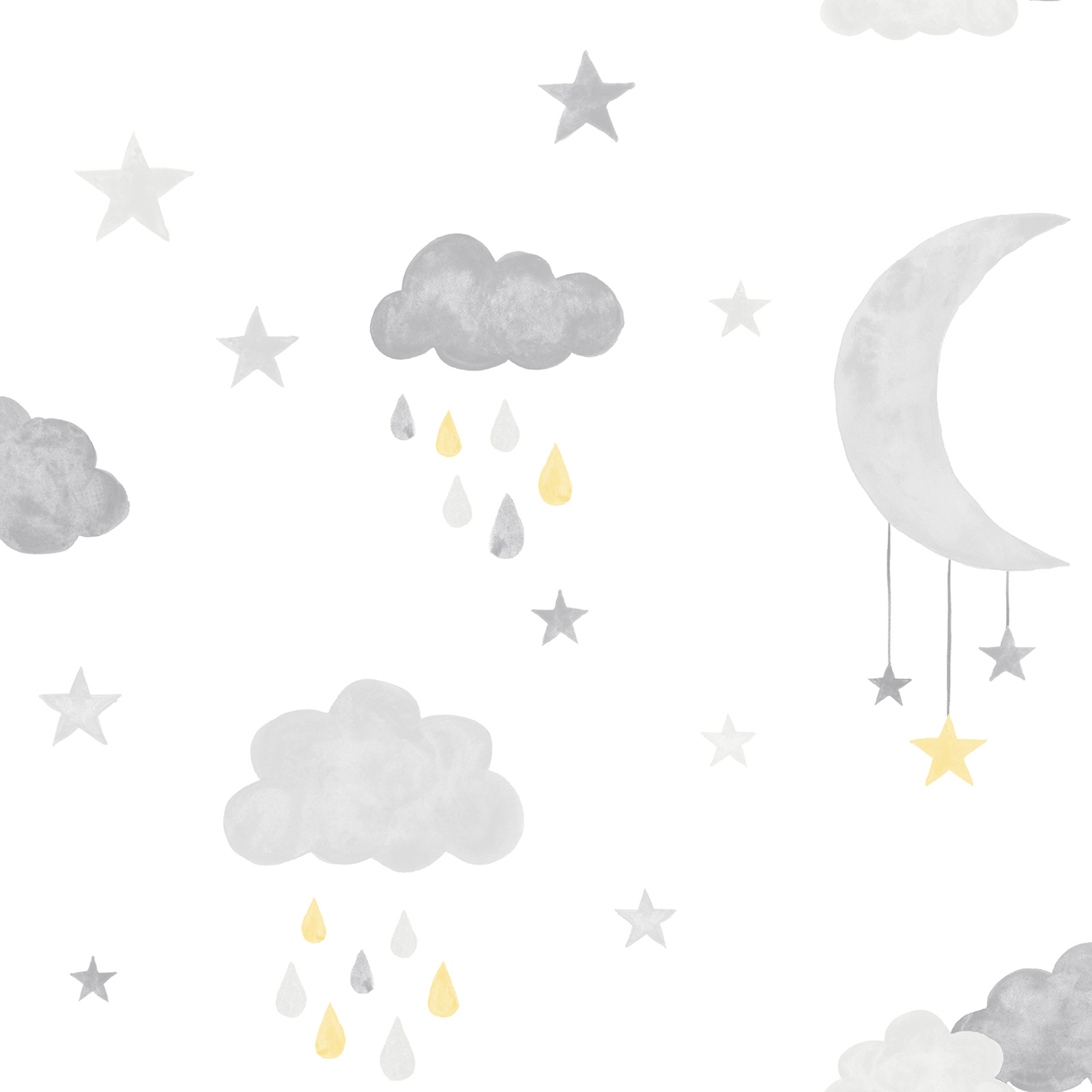 Kids Vinyl Wallpaper Moon Stars White Grey Lo2001